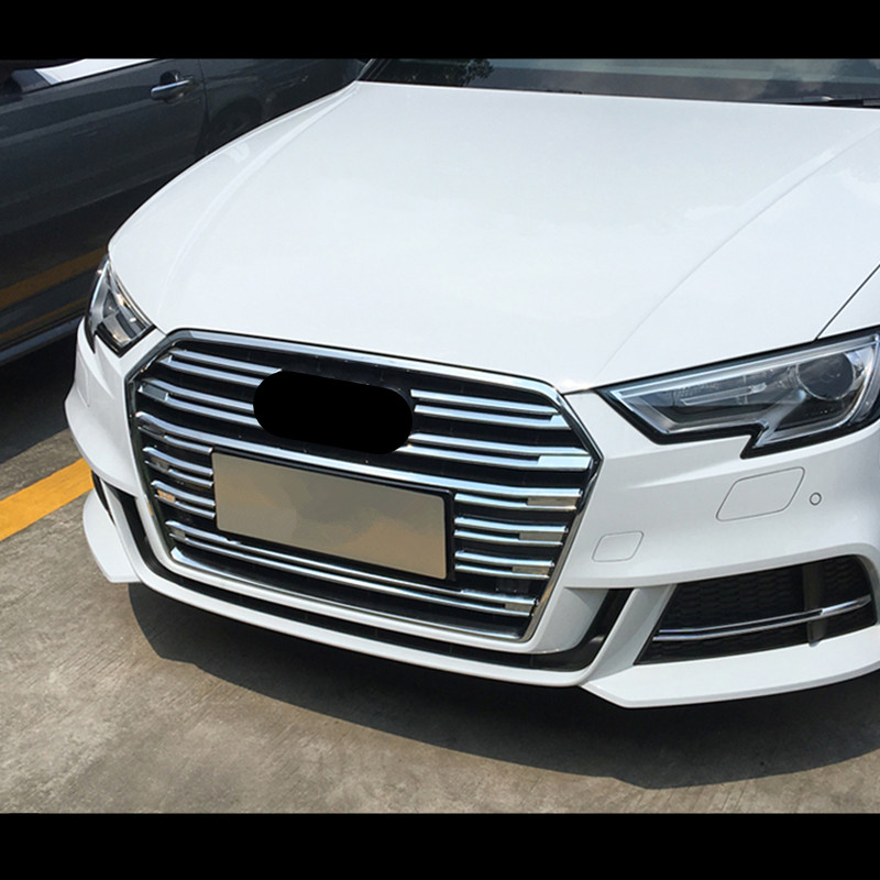 Chrome Front Center Grille Grid Decorative Cover Trim 10pcs For Audi A3 8V 2017 Grill Decal Strips Chromium StylingChrome Front Center Grille Grid Decorative Cover Trim 10pcs For Audi A3 8V 2017 Grill Decal Strips Chromium Styling