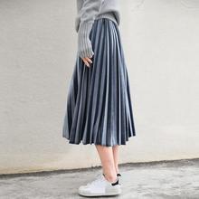 2020 estilo de Corea del Sur falda de terciopelo Vintage acordeón Falda plisada falda de cintura alta envío gratis