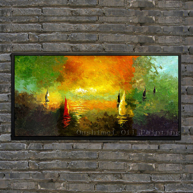 Hand Painted Modern Impression Seascape Picture Canvas Wall Art Boat ...