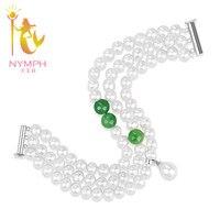 NINFA Pérola pulseiras de Encantos jóia da Pérola de água doce pulseiras pérola 18 CM Ágata Pulseira S102