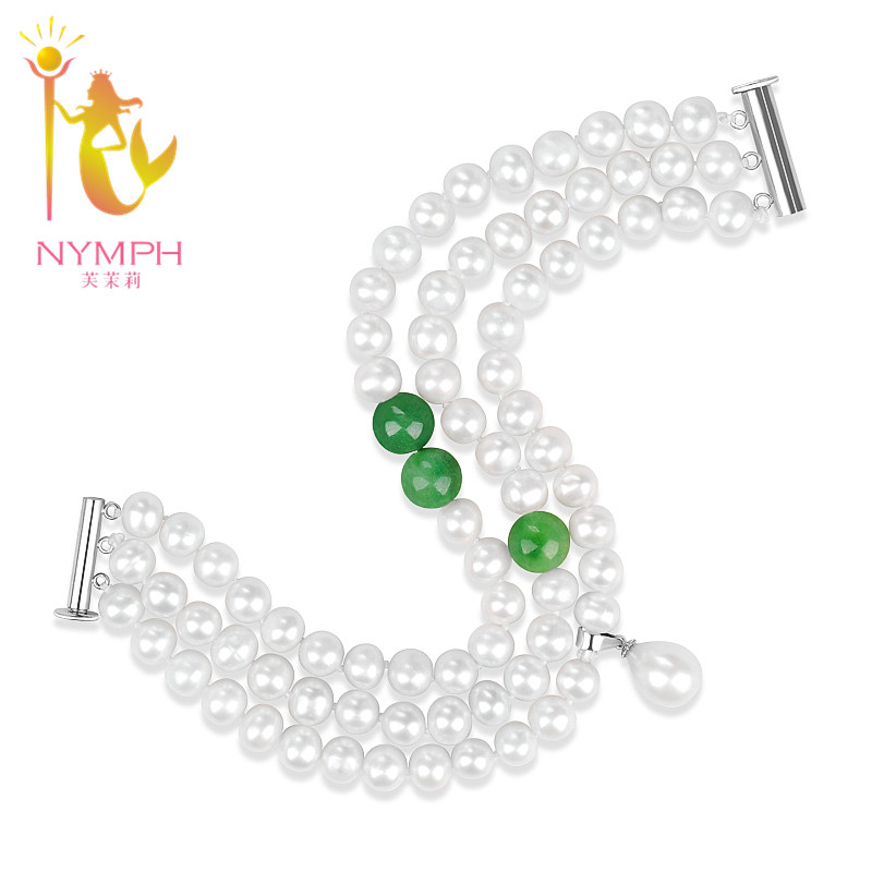 NYMPH Pearl bracelets in Charms Pearl jewelry freshwater pearl bracelets 18CM Agate Bracelet S102 все цены