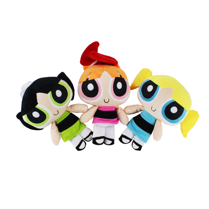 3pcs/lot 20cm Cartoon Anime Power Puff  Plush Girls Figure Blossom & Buttercup & Bubbles Cute Plush & Stuffed Doll Toy