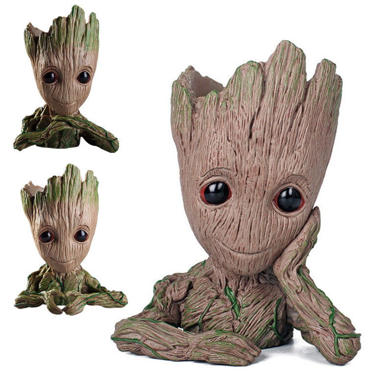 Cartoon Tree Baby Groot Figurine Model Plant Flower Pot Bonsai Garden Home Decoration Creative Pen Holder Ornament For Kid Gift A696