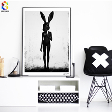 ZeroC Cuadros Posters And Prints Black Rabbit Wall Art Canvas Painting Pictures For Living Room Nordic Girl Home Decoration