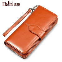 DELIN 2017 New Ladies Leather Cowhide Leather Wallet Long Hand Bag Handbag Factory Direct Wholesale Explosion