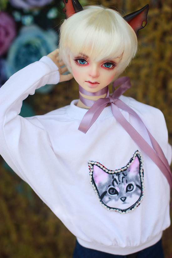 BJD doll shirt white cloth T shirt with Nail bead cat printing Hoodie for 1/3 1/4 BJD SD DD MSD doll clothes accessories  1
