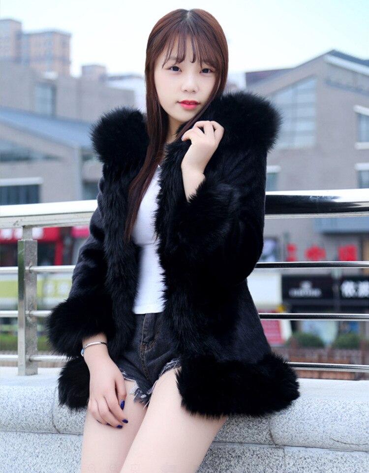 En Hiver Fausse Imitation À La Capuchon Renard S Velours Femmes Vison Fourrure Manteau 6xl Blanc Longue Vêtements Plus 2019 De Les noir Taille Pardessus w1RzIR