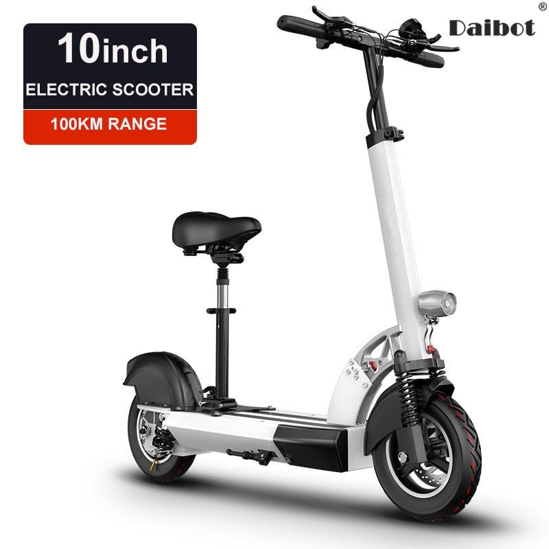 Daibot pliant vélo électrique 48 V deux roues Scooters électriques avec siège 10 pouces simple lecteur 500 W Scooters électriques adultes