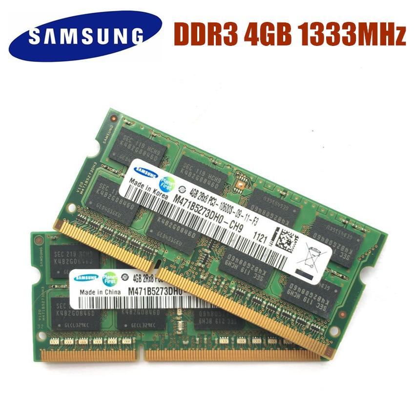 SAMSUNG RAM 4GB 2Rx8 PC3-10600S DDR3 1333Mhz 1600MHz 4G PC3L 4gb de Memória Portátil 10600S 12800S Notebook Módulo SODIMM RAM