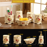 European ceramic bathroom five piece bathroom supplies household wash set toothbrush cups mug cup holder set