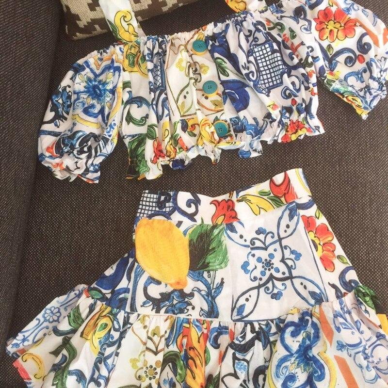 Femmes filles sicile citron porcelaine impression crop hauts noeud papillon camisolo mignon volants mini jupe costumes 2 pièce ensemble décontracté 2019 été