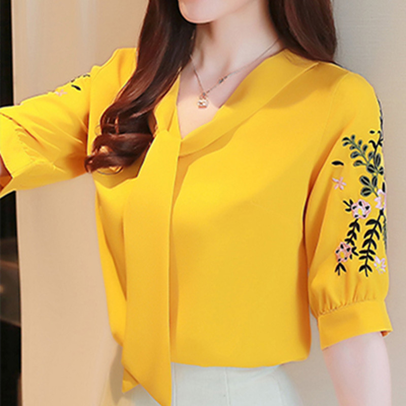 Women   Blouse     Shirts   Summer   Blouse   Tops Female Fashion Korean Floral OL   Shirts   Plus Size Women Chiffon Embroidery Print   Shirt   Top
