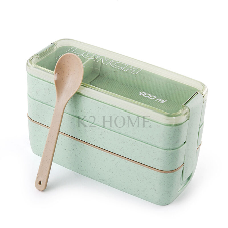900ml BPA Free Reusable Lunch Bento Box Food Storage Canteen Fashion Style 3 Layer Microwave Available