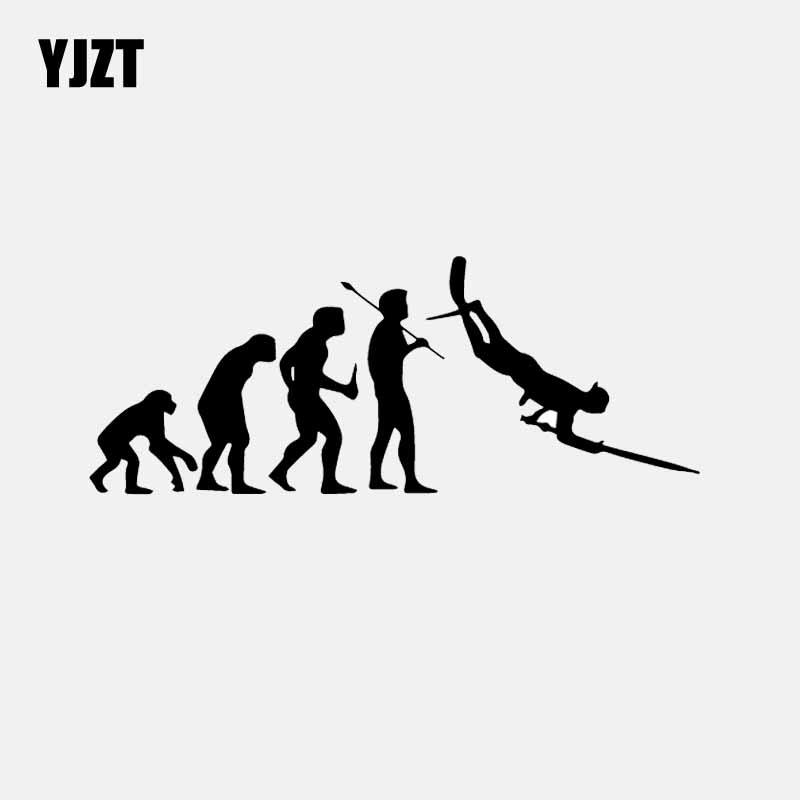 YJZT 17.5CM*6.8CM Vinyl Decal Car Sticker Evolution Spearfishing Spear Fish Scuba Dive Diving Fishing Black/Silver C24-0950