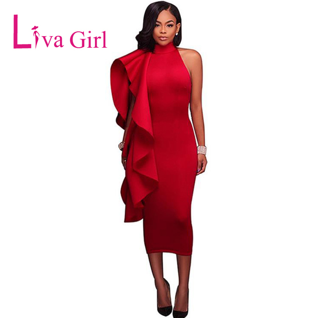 d260e1fa557 Liva Girl Red Ruffles Cold Shoulder Sexy Midi Dress Women Autumn Slim  Halter Elegant Bodycon Party Dresses Peplum Black Vestidos