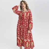 Boho Floral Print Summer Dress With V neck Long Sleeves Casual Lace Up Women Dress Loose Beach Cotton Peacock Pattern Maxi Dress