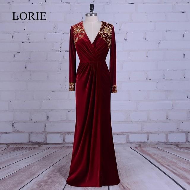 Burgundy Muslim Evening Dress Abendkleider 2017 LORIE Prom Dresses ...