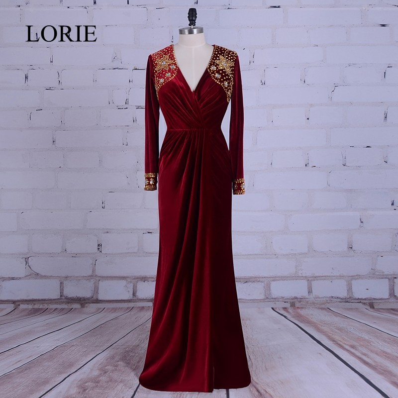 Buy burgundy and gold long sleeved prom dress and get free shipping on  AliExpress.com 84e6a9ed6076