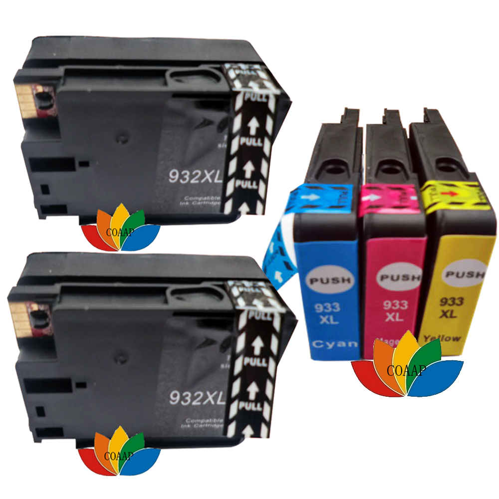 <font><b>5</b></font> Compatible 932XL 933XL Chipped Ink Cartridge for HP 932 933 Officejet 6100 <font><b>6600</b></font> 6700 7110 7510 7512 7610 7612 Printer image