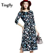Фотография Tingfly Autumn Midi Long Casual Floral Velvet Dress Women Fashion High Quality Empire O-Neck Print Slim A-Line Party Dresses