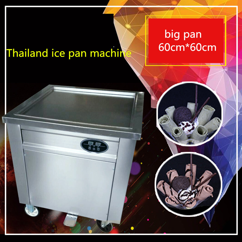 CE fried ice cream machine ,60*60CM pan Thailand  ice cream roll machine,flat pan stainless steel Fry ice cream rolls machine ce fried ice cream machine stainless steel fried ice machine single round pan ice pan machine thai ice cream roll machine