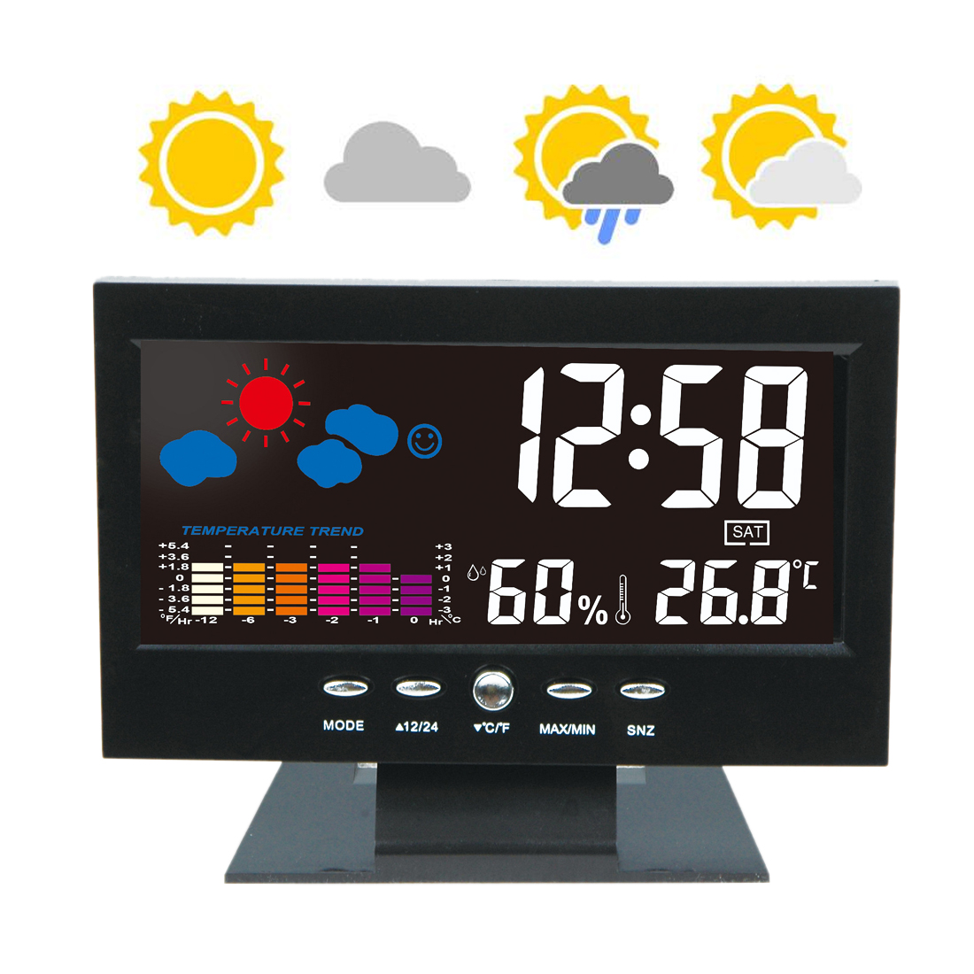 Weather station Alarm Clock temperature gauge Colorful LCD Calendar Vioce-activated Backlight Digital Thermometer Hygrometer digital lcd thermometer projection weather station temperature calendar display dual alarm clock usb charging function