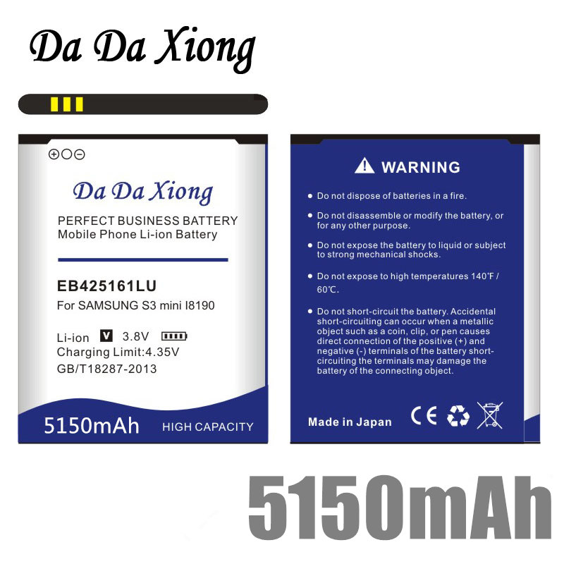 Da Da Xiong 5150mAh EB425161LU <font><b>Battery</b></font> for Samsung galaxy s3 mini <font><b>i8190</b></font> i699 ace 2 i8160 S7562 S7562I S7568 i8190N i739 S7580 image