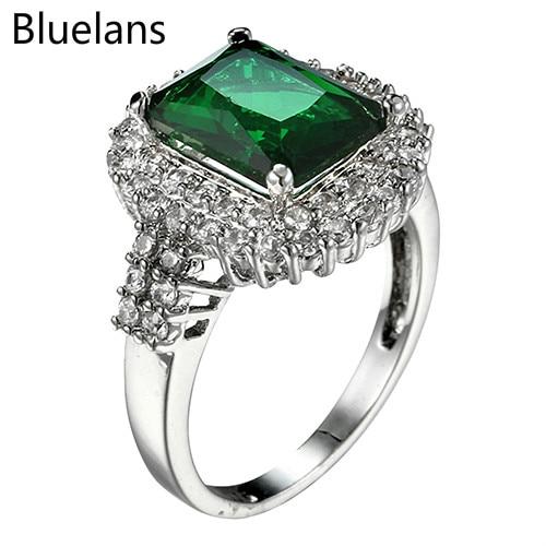 Madingi žalios spalvos cirkonio sidabriniai vestuviniai žiedai - Mados papuošalai