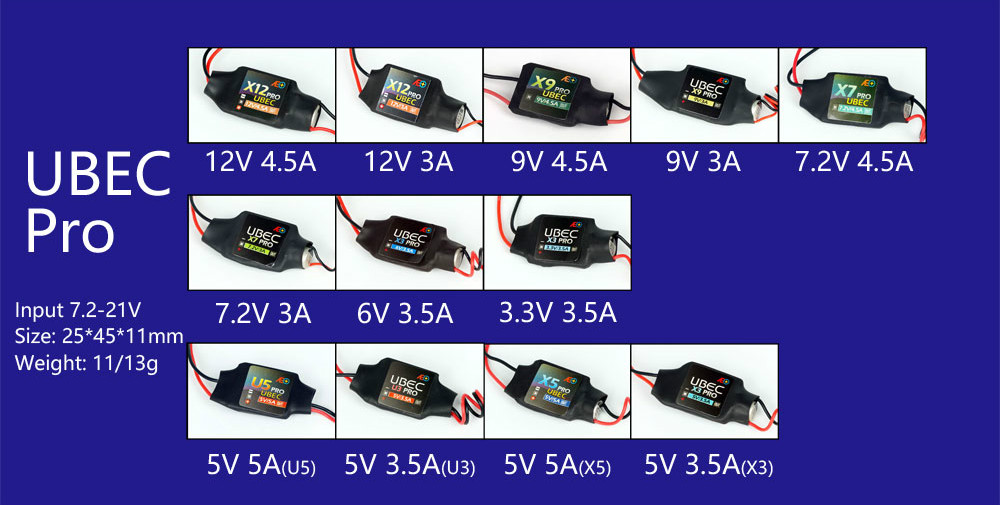 AEORC BEC UBEC Pro (3.3 V 3.5A/5 V 3.5A/5 V 5A/6 V 3.5A/7.2 V 3A/7.2 V 4.5A/9 V 3A/9 V 4.5A/12 V 3A /12 V 4.5A) pour RC