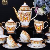 Европейский Бабочка усадьба Bone фарфор Coffeware комплекты Высокое качество день Чай комплект Творческий керамический кофе чашки костюм