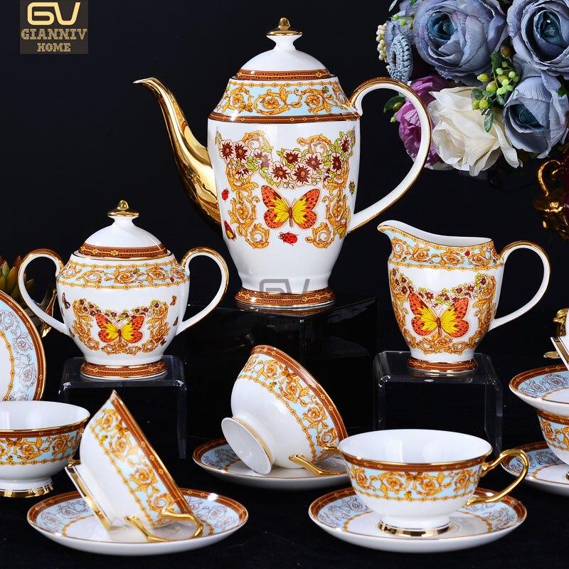 Ensemble de cafetière en porcelaine de chine papillon européen ensemble de thé de haute qualité ensemble de tasse à café en céramique créative