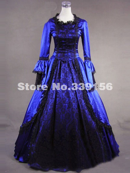 Brand New Noble Blue Long Sleeve Lace 18th Century Renaissance Victorian Ball Gown Marie Antoinette Dress For Women