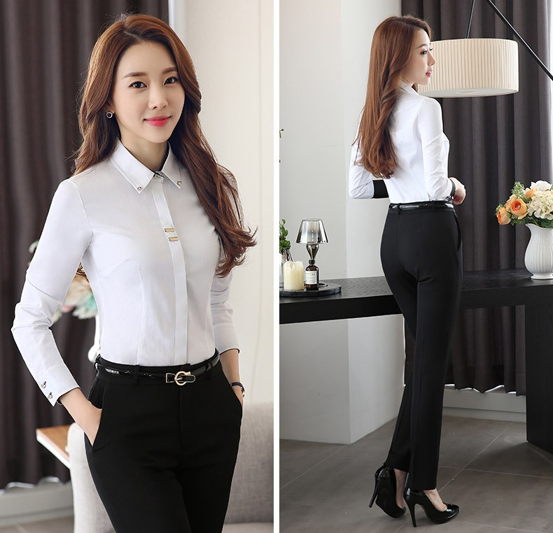 HTB1OXIiLXXXXXauXVXXq6xXFXXXB - Long sleeve shirt black white slim cotton blouse office ladies