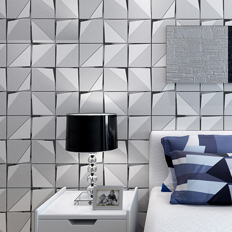 3D Stereo Non-Woven Flocking Wall Papers Modern Simple Abstract Geometric Wallpaper Living Room Bedroom Backdrop Wall Home Decor