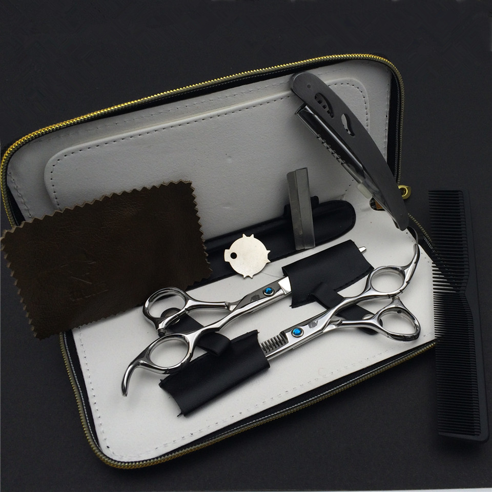 Smith chu 6.0 inch Professional Hairdressing Scissors set 62HRC Straight & Thinning cutting with comb, clothes ,oil