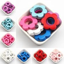 DIY 10 шт./лот разноцветный цветочный кольцо деревянные бусины для изготовления украшений вручную цепи соски (внутренний диаметр 13,5 мм)
