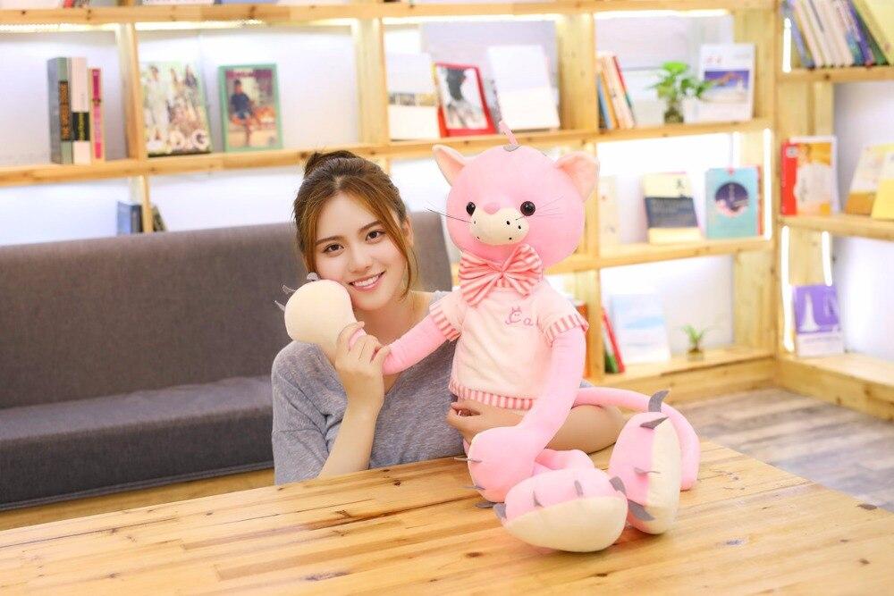 large 80cm cute cartoon pink cat plush toy soft doll throw pillow birthday gift w2214