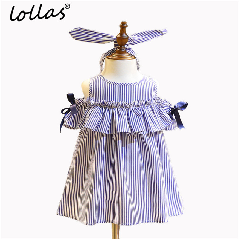 Lollas 2018 New Kids Girls Striped Blue Dress Ruffle Off-shoulder Dress+Headband Princess Party Dresses Outfits Summer Costume