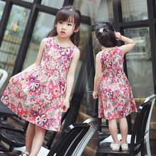 2019 Fashion Kids Girl Sleeveless Dress 2-10T Summer Girls Prined Flower Dresses Children Clothes Baby Cotton Princess Dress(China)