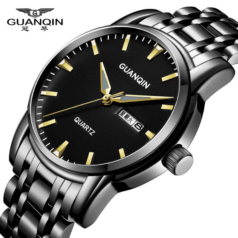2018 New GUANQIN Luxury Brand Men Quartz Watch Gold Stainless Steel Wristwatch Bussiness Mens Fashion Clock relogio masculino guanqin gq12002 relogio masculino luxury brand watch fashion quartz watches men stainless steel relojes clock