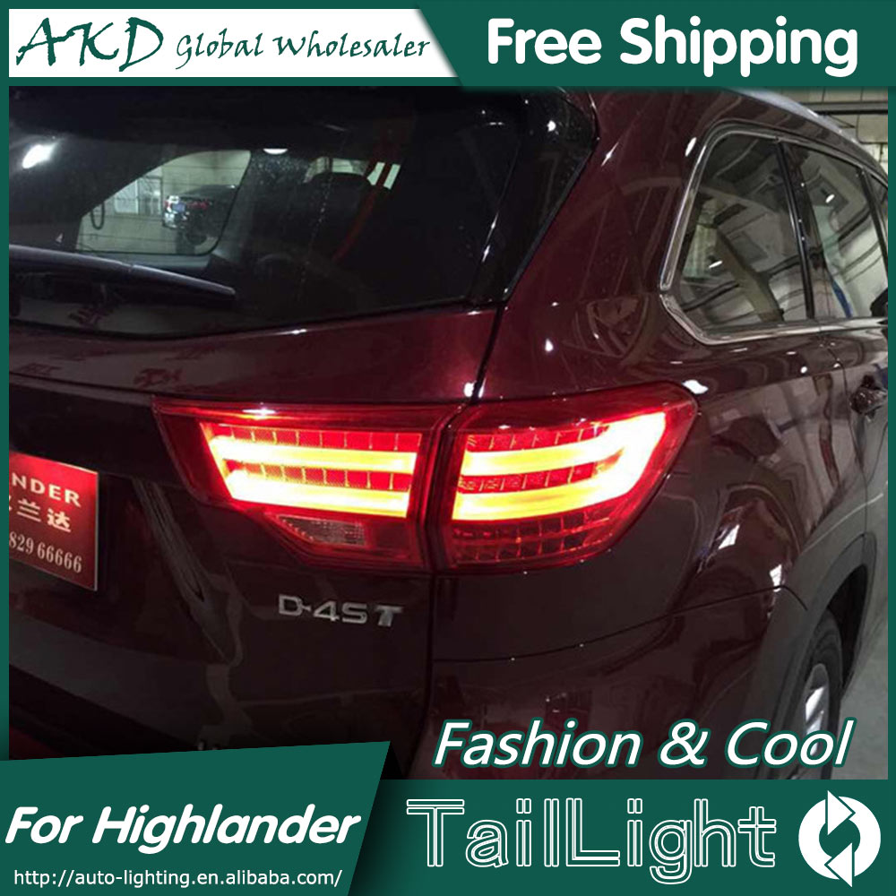 AKD Car Styling for Toyota Highlander Tail Lights 2015 New Highlander LED Tail Light Rear Lamp DRL+Brake+Park+Signal high quality car styling 35w led car tail light for toyota highlander 2015 tail lamp drl signal brake reverse lamp