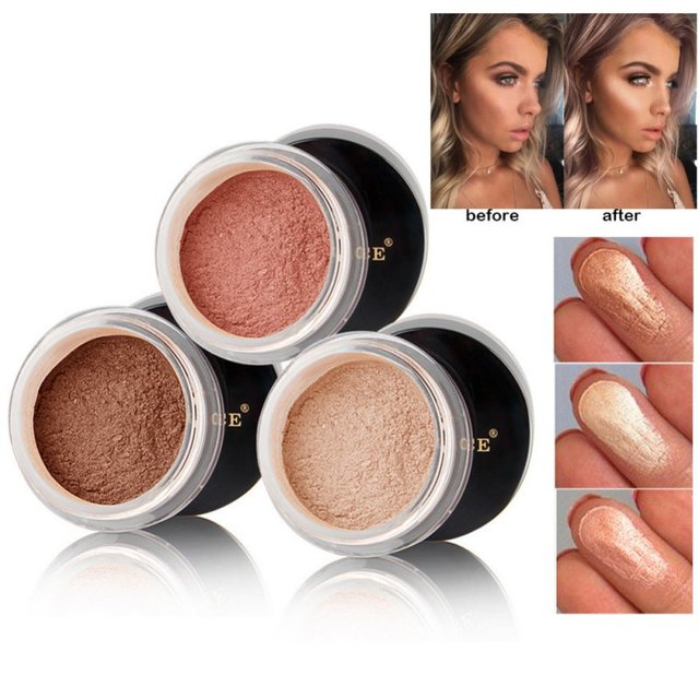 Loose Powder Pearl Shimmer Face Makeup Finishing Foundation Beauty Makeup Highlighter Powder 2