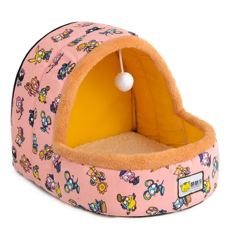 Petshy Warm Cat Cave Bed Dog House Autumn Winter Soft Plush Small Dogs Cats Home Nest Cute Pattern Kitten Puppy Kennel Shelter