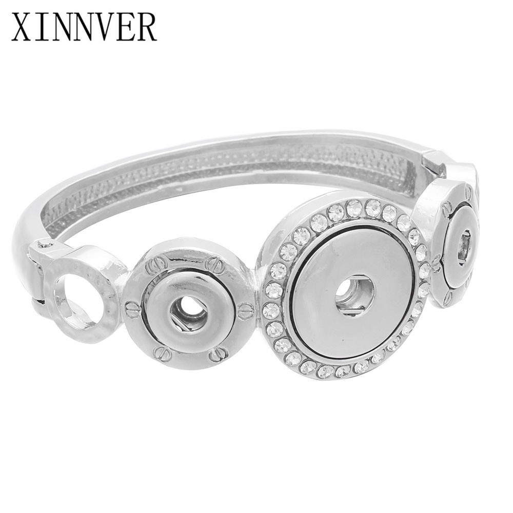 New Snap Bangles Silver Plated Crystal Bracelet 3 Buttons Snap jewelry Fit 18mm and 12mm ...