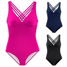 Womens Plus Size Sexy  Tankini Plunging V-Neck Monokini Criss Cross Multi Bandage Swimsuit Solid Color Stripes Beachwear M-2XL