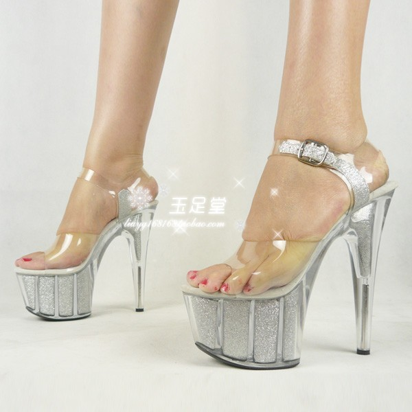 e8febf84c36 Professional customize stage shoes 15c ultra high heels sandals silver  crystal platform shoes
