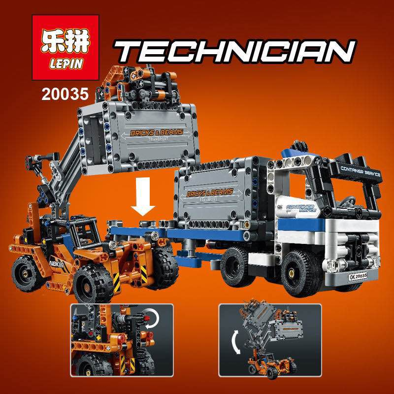 New Container Terminals Toy building blocks lepin 20035 631pcs Technic Container trucks and loaders boy gift compatible 42062 construction equipment backhoe skid steer loaders wheel loaders road roller service manuals for hyundai
