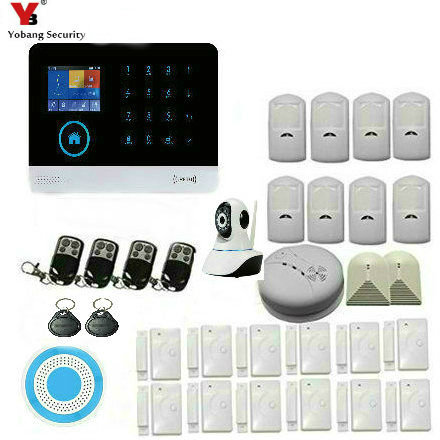 Yobang Security Wireless WIFI Home GSM Alarm With Smoke Detector GPRS Touch Keyboard English Russian French Android IOS APP