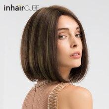 INHAIR кубик синтетический смесь короткие прямые волосы бесклеевой кружевной парик Боб ручная вязка средняя часть смешанные цвета коричневый парики для женщин