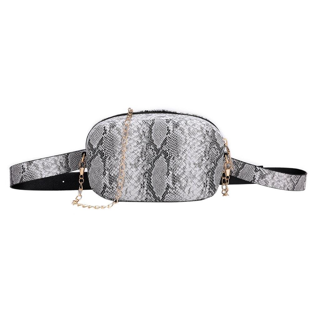 Snake Pattern Chain Shoulder Waist Bags Fanny Belt Packs Phone Pouch Women PU Leather Crossbody Casual Messenger Chest Bags 2019